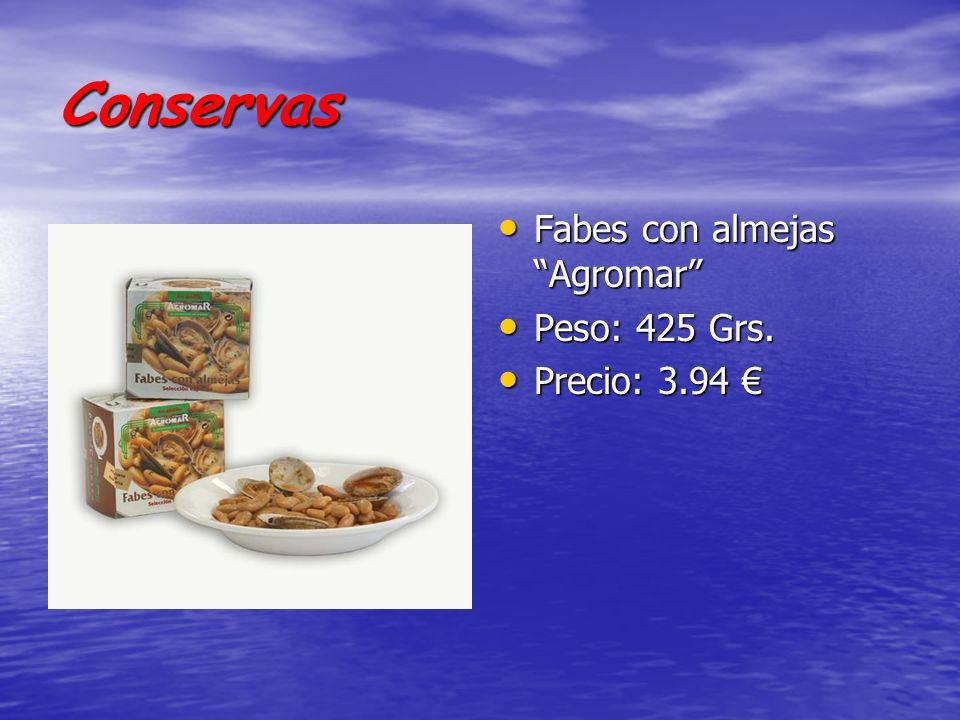 Conservas Fabes con almejas Agromar Fabes con almejas Agromar Peso: 425 Grs. Peso: 425 Grs. Precio: 3.94 Precio: 3.94