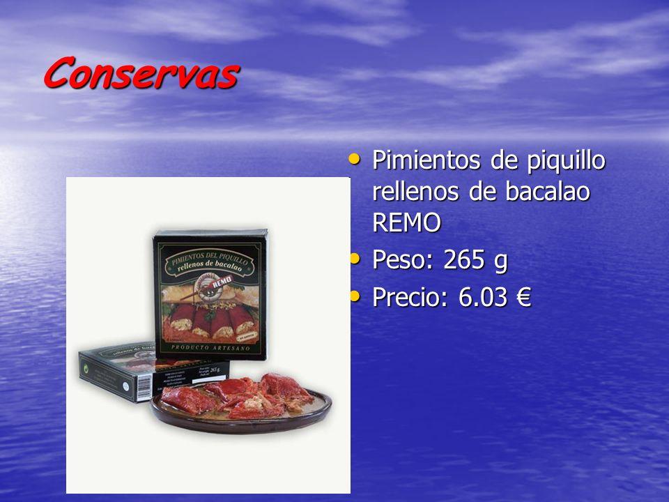 Conservas Pimientos de piquillo rellenos de bacalao REMO Pimientos de piquillo rellenos de bacalao REMO Peso: 265 g Peso: 265 g Precio: 6.03 Precio: 6.03