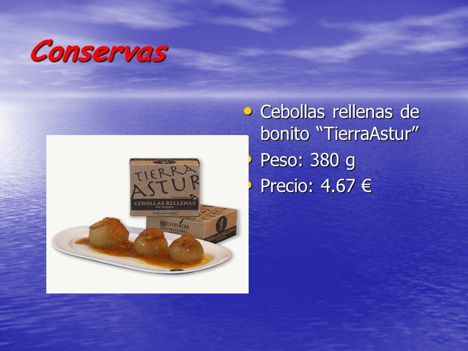 Conservas Cebollas rellenas de bonito TierraAstur Cebollas rellenas de bonito TierraAstur Peso: 380 g Peso: 380 g Precio: 4.67 Precio: 4.67