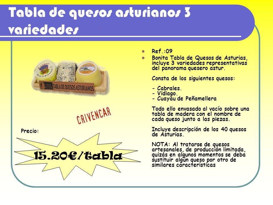 Tabla de quesos asturianos 3 variedades Ref.:09 Bonita Tabla de Quesos de Asturias, incluye 3 variedades representativas del panorama quesero astur. C