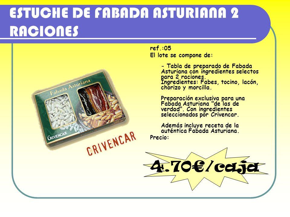 ESTUCHE DE FABADA ASTURIANA 2 RACIONES ref.:05 El lote se compone de: - Tabla de preparado de Fabada Asturiana con ingredientes selectos para 2 racion