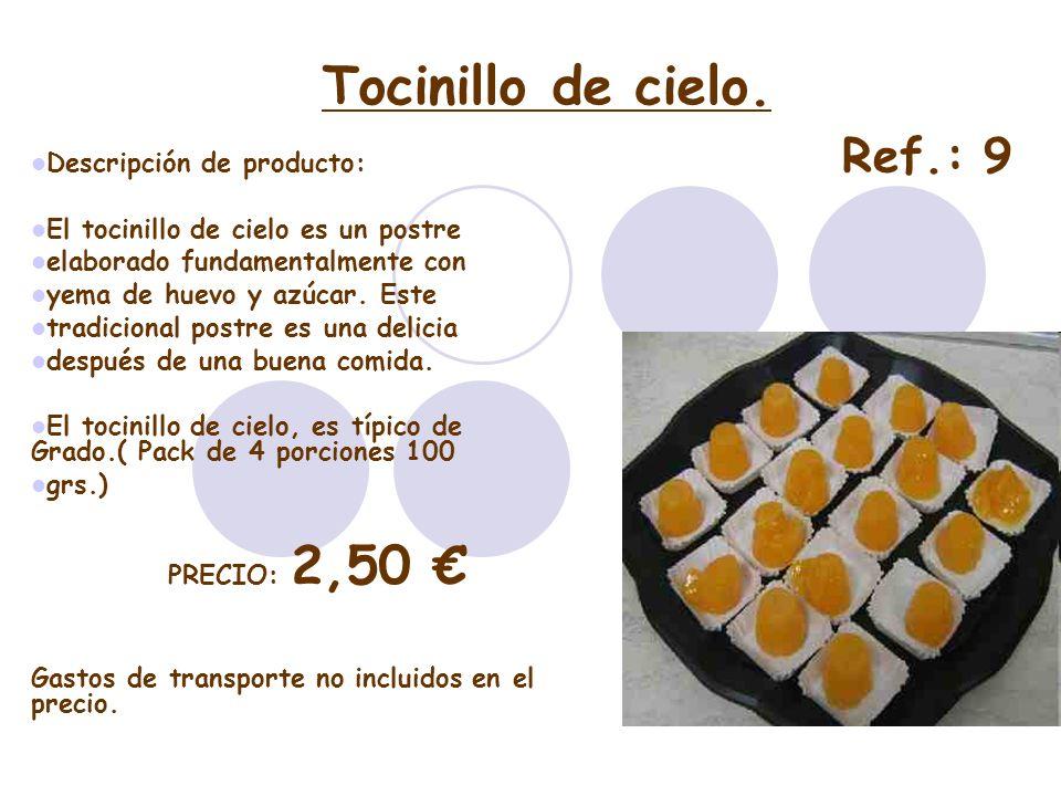 Tocinillo de cielo. Descripción de producto: El tocinillo de cielo es un postre elaborado fundamentalmente con yema de huevo y azúcar. Este tradiciona