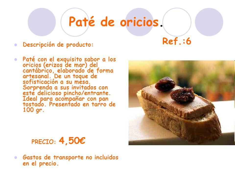 Paté de oricios. Descripción de producto: Paté con el exquisito sabor a los oricios (erizos de mar) del cantábrico, elaborado de forma artesanal. De u