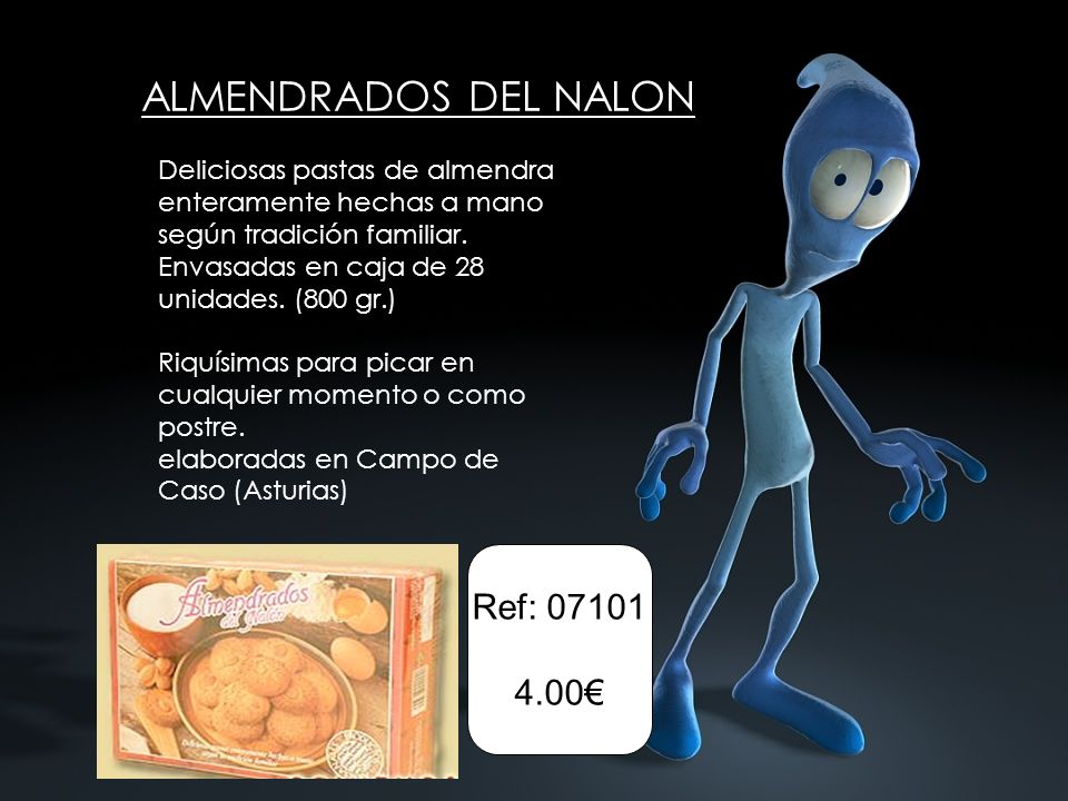 ALMENDRADOS DEL NALON Deliciosas pastas de almendra enteramente hechas a mano según tradición familiar. Envasadas en caja de 28 unidades. (800 gr.) Ri