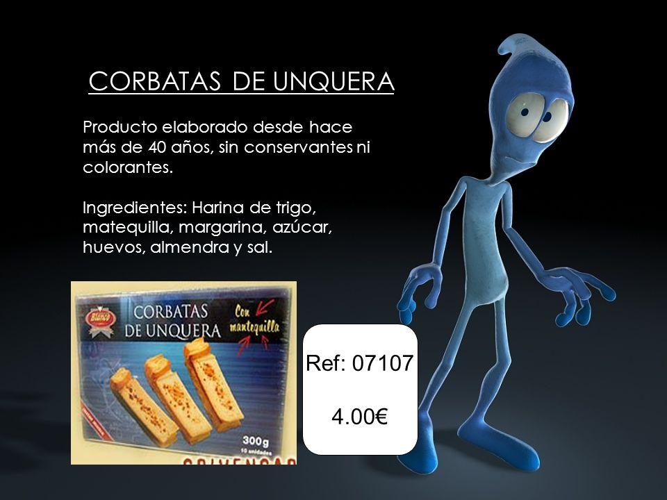 Ref: 07107 4.00 Producto elaborado desde hace más de 40 años, sin conservantes ni colorantes. Ingredientes: Harina de trigo, matequilla, margarina, az