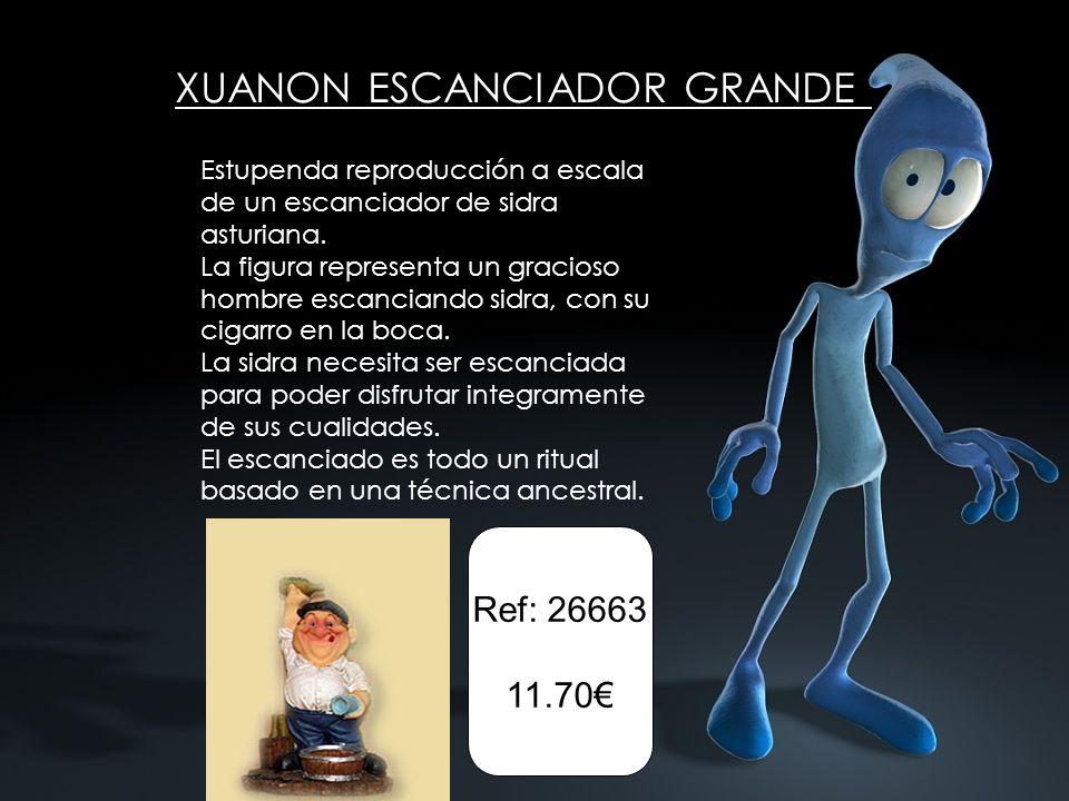 XUANON ESCANCIADOR GRANDE Estupenda reproducción a escala de un escanciador de sidra asturiana. La figura representa un gracioso hombre escanciando si
