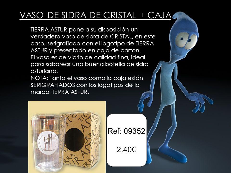VASO DE SIDRA DE CRISTAL + CAJA Ref: 09352 2.40 TIERRA ASTUR pone a su disposición un verdadero vaso de sidra de CRISTAL, en este caso, serigrafiado con el logotipo de TIERRA ASTUR y presentado en caja de carton.