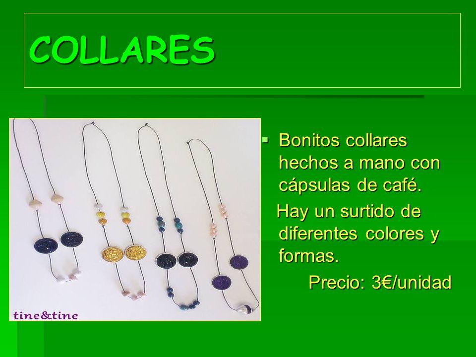 COLLARES Bonitos collares hechos a mano con cápsulas de café. Bonitos collares hechos a mano con cápsulas de café. Hay un surtido de diferentes colore