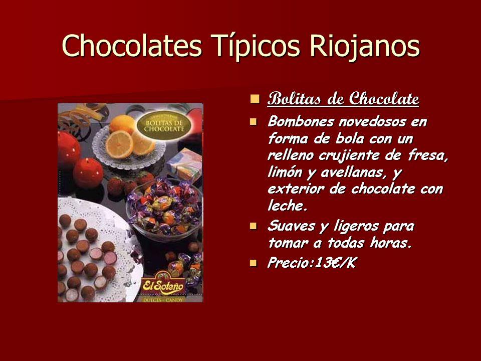 Chocolates Típicos Riojanos Bolitas de Chocolate Bolitas de Chocolate Bombones novedosos en forma de bola con un relleno crujiente de fresa, limón y a