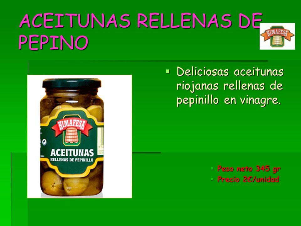 ACEITUNAS RELLENAS DE PEPINO Deliciosas aceitunas riojanas rellenas de pepinillo en vinagre. Deliciosas aceitunas riojanas rellenas de pepinillo en vi