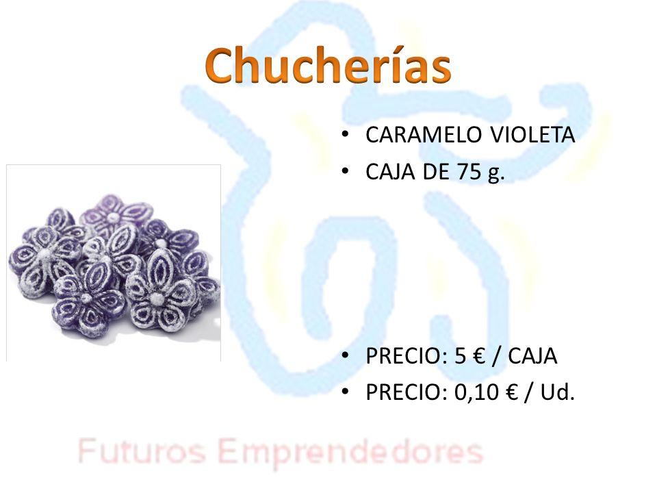 CARAMELO VIOLETA CAJA DE 75 g. PRECIO: 5 / CAJA PRECIO: 0,10 / Ud.