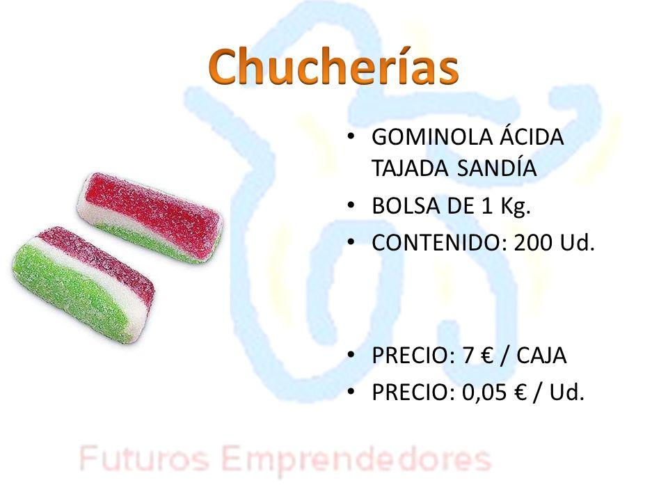 GOMINOLA ÁCIDA TAJADA SANDÍA BOLSA DE 1 Kg. CONTENIDO: 200 Ud. PRECIO: 7 / CAJA PRECIO: 0,05 / Ud.