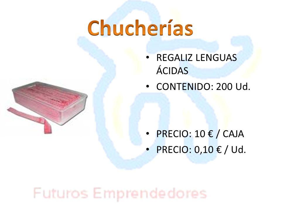 REGALIZ LENGUAS ÁCIDAS CONTENIDO: 200 Ud. PRECIO: 10 / CAJA PRECIO: 0,10 / Ud.