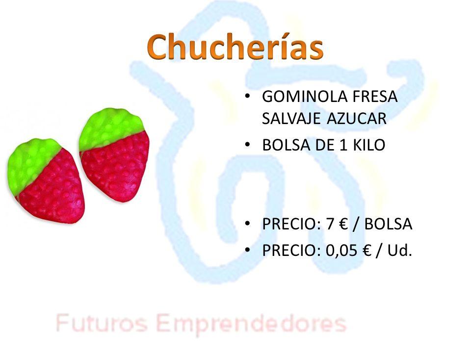 GOMINOLA FRESA SALVAJE AZUCAR BOLSA DE 1 KILO PRECIO: 7 / BOLSA PRECIO: 0,05 / Ud.