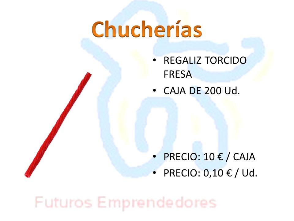 REGALIZ TORCIDO FRESA CAJA DE 200 Ud. PRECIO: 10 / CAJA PRECIO: 0,10 / Ud.