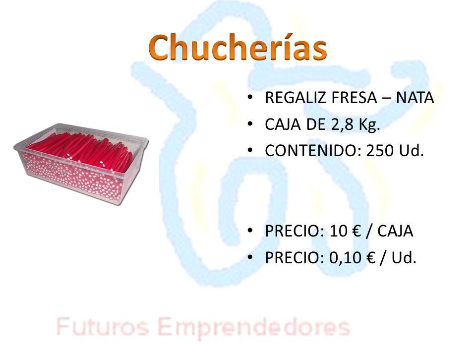 REGALIZ FRESA – NATA CAJA DE 2,8 Kg. CONTENIDO: 250 Ud. PRECIO: 10 / CAJA PRECIO: 0,10 / Ud.