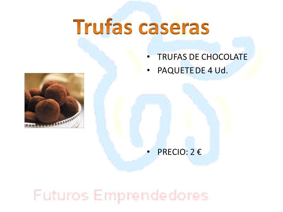 TRUFAS DE CHOCOLATE PAQUETE DE 4 Ud. PRECIO: 2