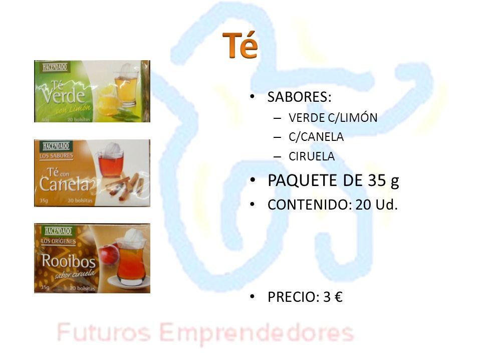 SABORES: – VERDE C/LIMÓN – C/CANELA – CIRUELA PAQUETE DE 35 g CONTENIDO: 20 Ud. PRECIO: 3