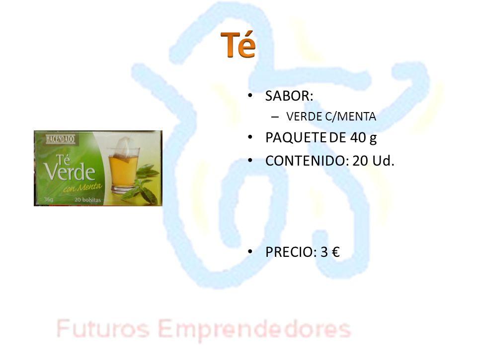 SABOR: – VERDE C/MENTA PAQUETE DE 40 g CONTENIDO: 20 Ud. PRECIO: 3
