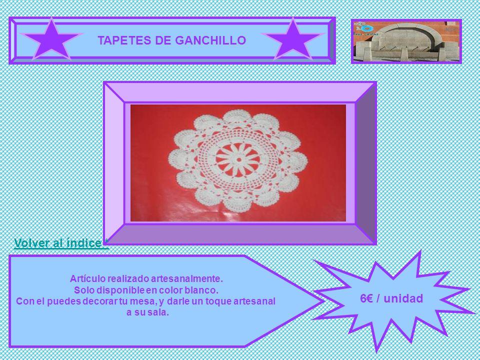 TAPETES DE GANCHILLO 6 / unidad Artículo realizado artesanalmente. Solo disponible en color blanco. Con el puedes decorar tu mesa, y darle un toque ar