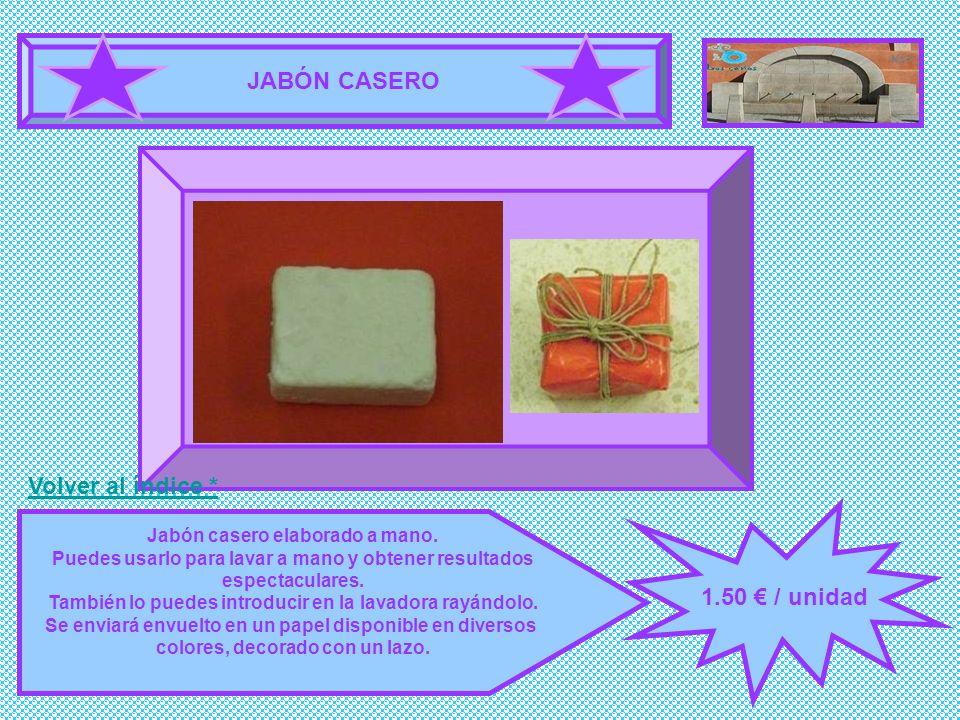 JABÓN CASERO 1.50 / unidad Jabón casero elaborado a mano. Puedes usarlo para lavar a mano y obtener resultados espectaculares. También lo puedes intro