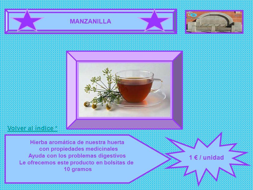 MANZANILLA 1 / unidad Hierba aromática de nuestra huerta con propiedades medicinales Ayuda con los problemas digestivos Le ofrecemos este producto en