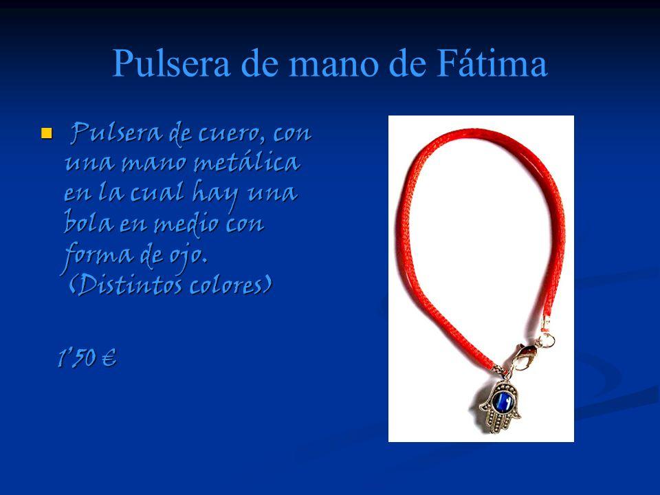 Pulsera de mano de Fátima Pulsera de cuero, con una mano metálica en la cual hay una bola en medio con forma de ojo. (Distintos colores) Pulsera de cu