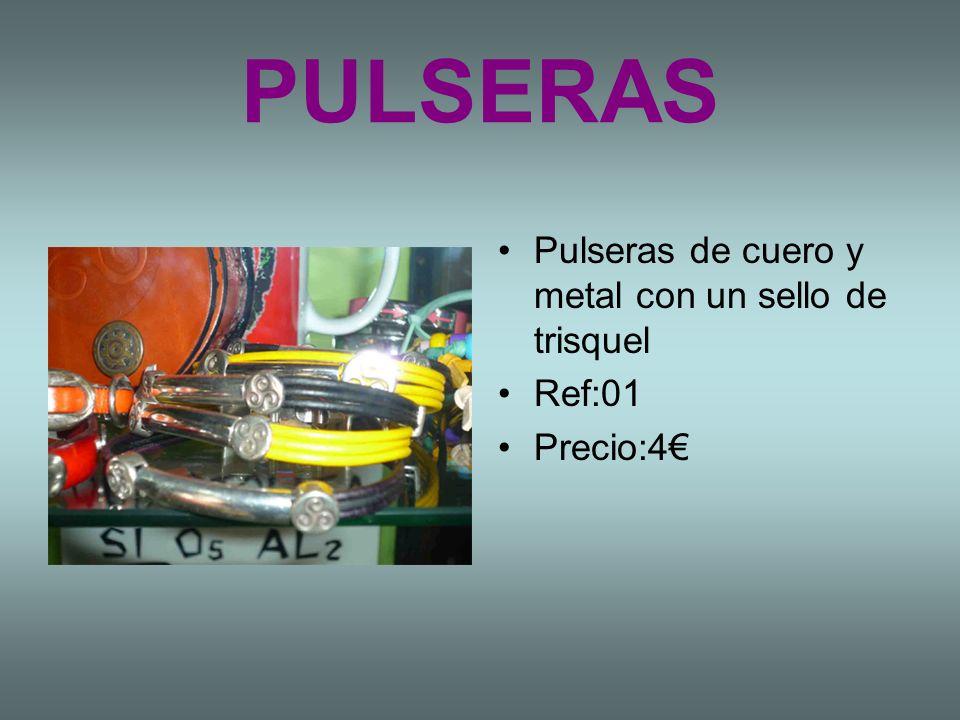 PULSERAS Pulseras de cuero y metal con un sello de trisquel Ref:01 Precio:4