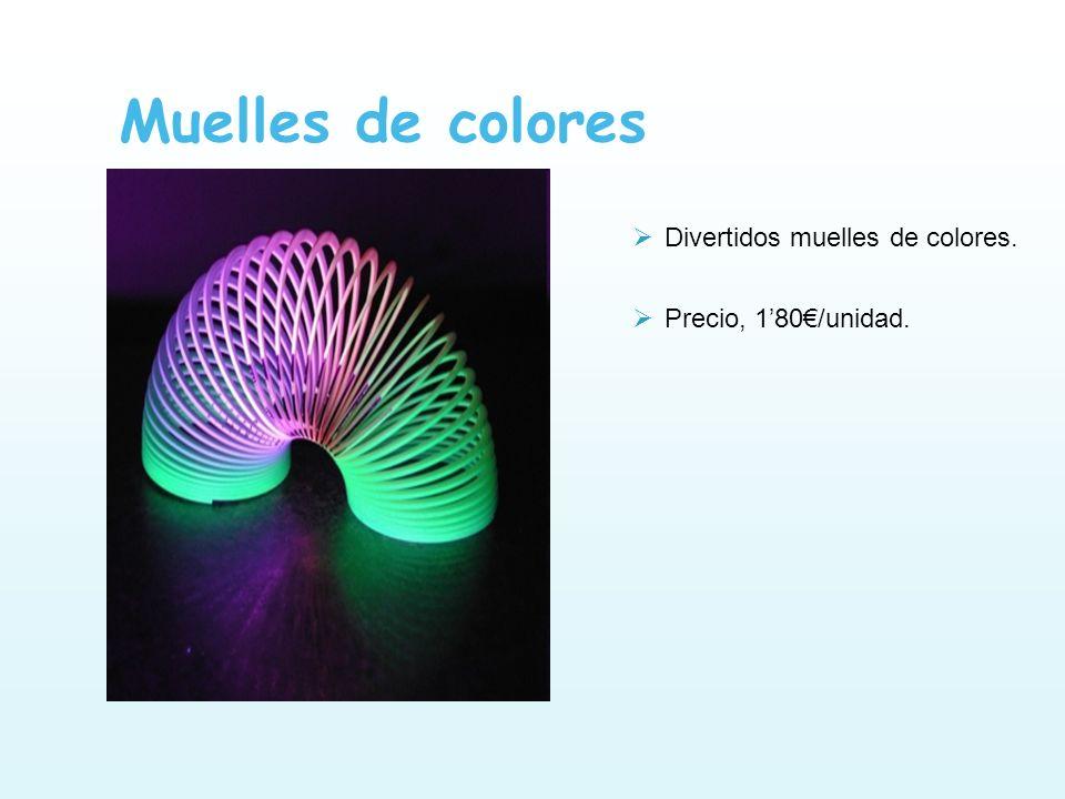 Muelles de colores Divertidos muelles de colores. Precio, 180/unidad.