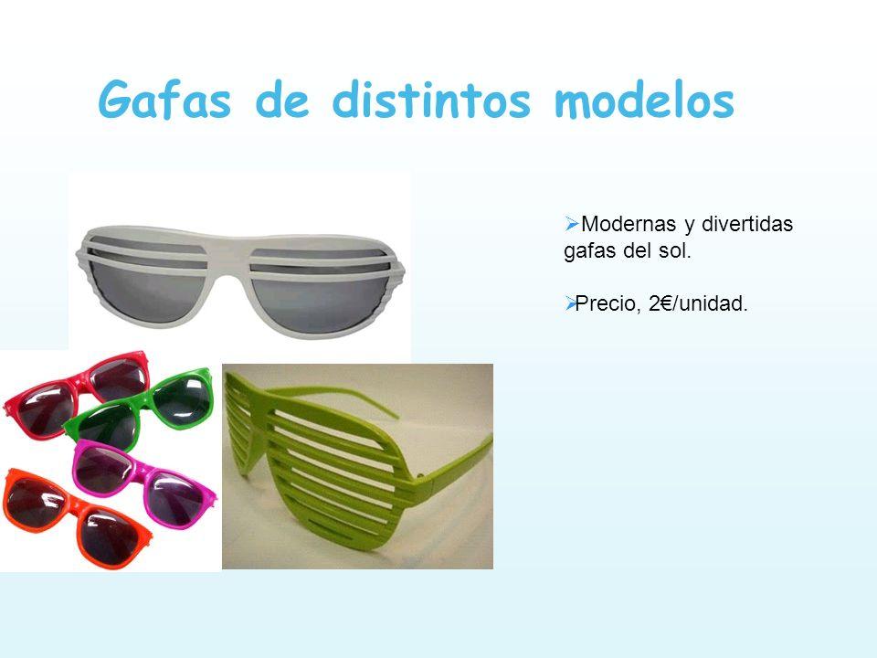 Gafas de distintos modelos Modernas y divertidas gafas del sol. Precio, 2/unidad.