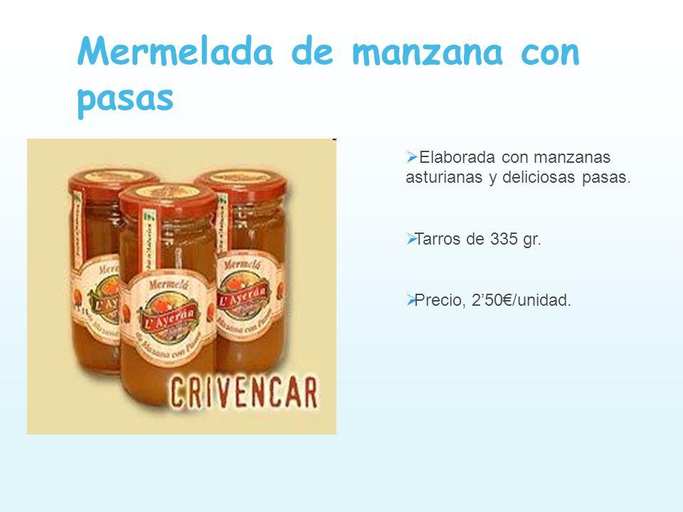 Elaborada con manzanas asturianas y deliciosas pasas. Tarros de 335 gr. Precio, 250/unidad. Mermelada de manzana con pasas
