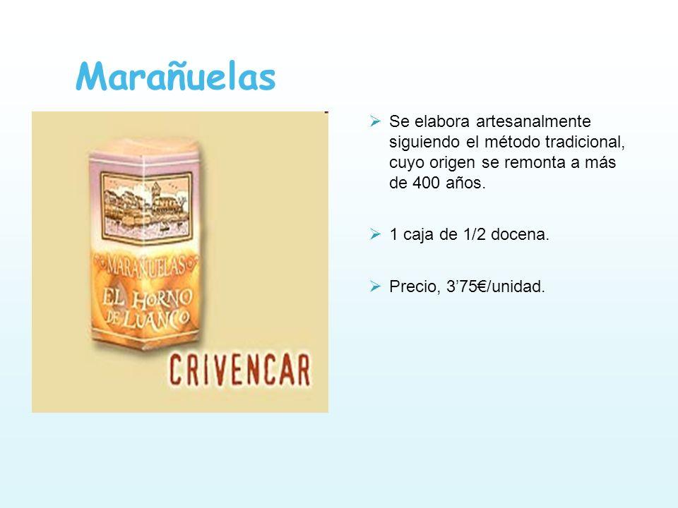 Marañuelas Se elabora artesanalmente siguiendo el método tradicional, cuyo origen se remonta a más de 400 años. 1 caja de 1/2 docena. Precio, 375/unid