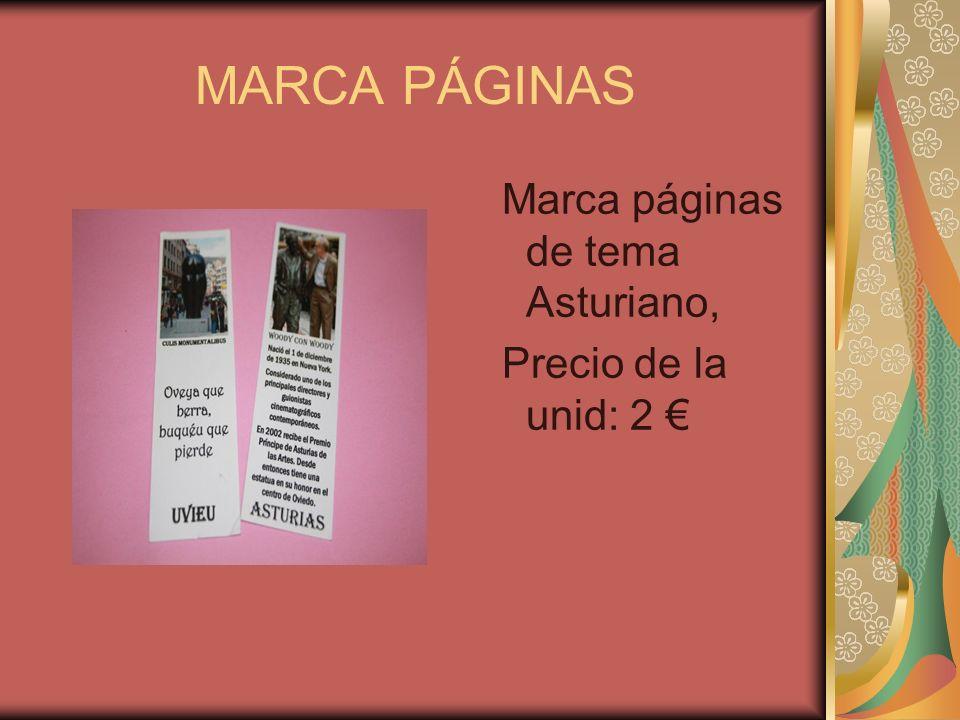 MARCA PÁGINAS Marca páginas de tema Asturiano, Precio de la unid: 2
