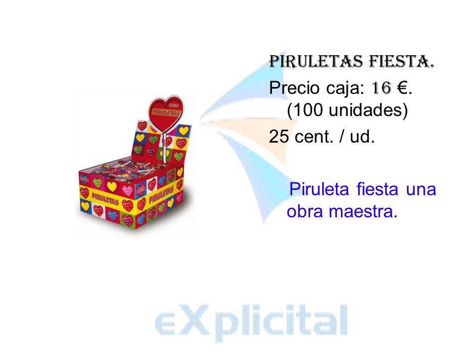 Piruletas Fiesta. Precio caja: 16. (100 unidades) 25 cent. / ud. Piruleta fiesta una obra maestra.
