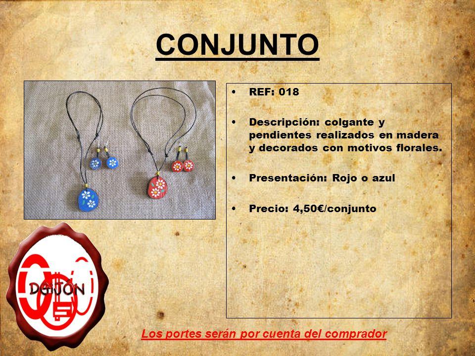 CONJUNTO REF: 018 Descripción: colgante y pendientes realizados en madera y decorados con motivos florales. Presentación: Rojo o azul Precio: 4,50/con