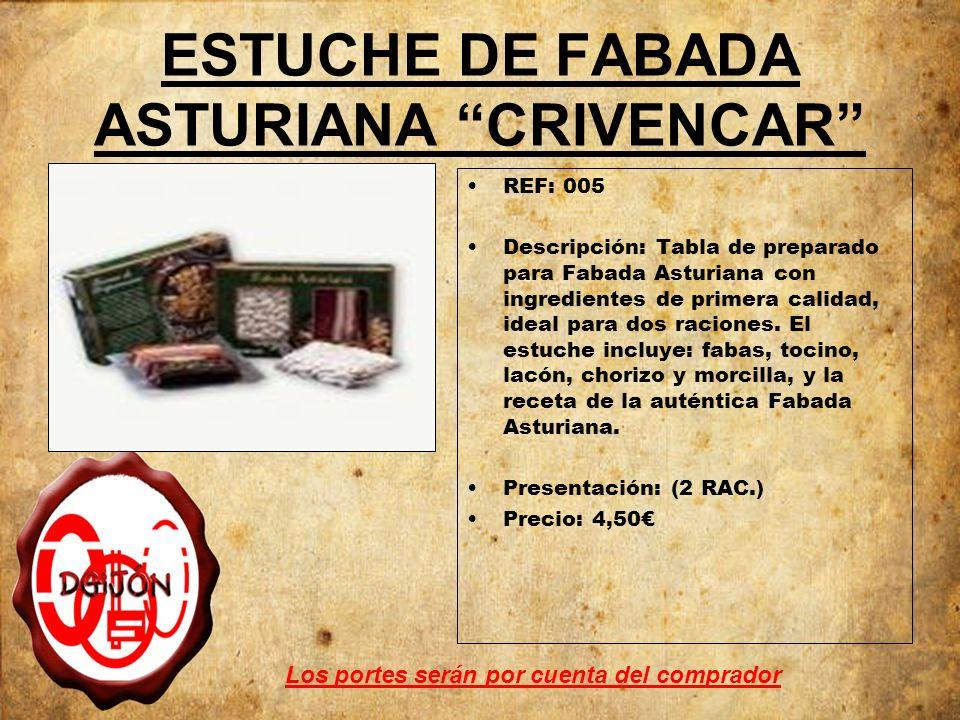 ESTUCHE DE FABADA ASTURIANA CRIVENCAR REF: 005 Descripción: Tabla de preparado para Fabada Asturiana con ingredientes de primera calidad, ideal para dos raciones.