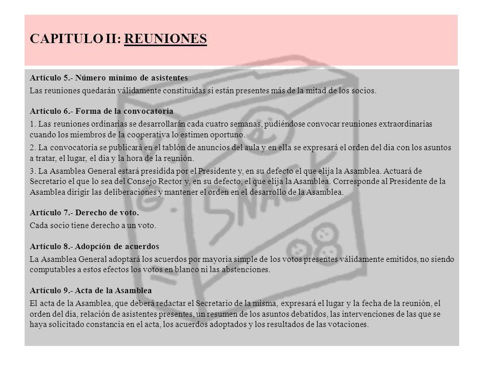 CAPITULO II: REUNIONES Artículo 5.