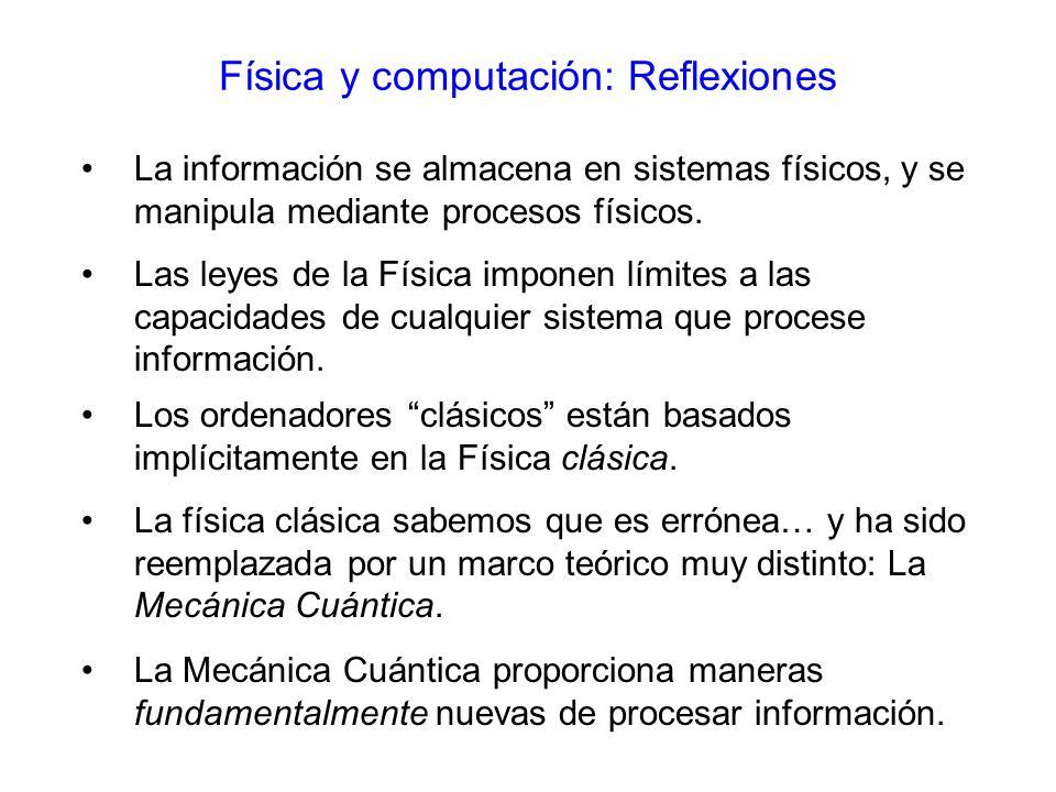 La información se almacena en sistemas físicos, y se manipula mediante procesos físicos.