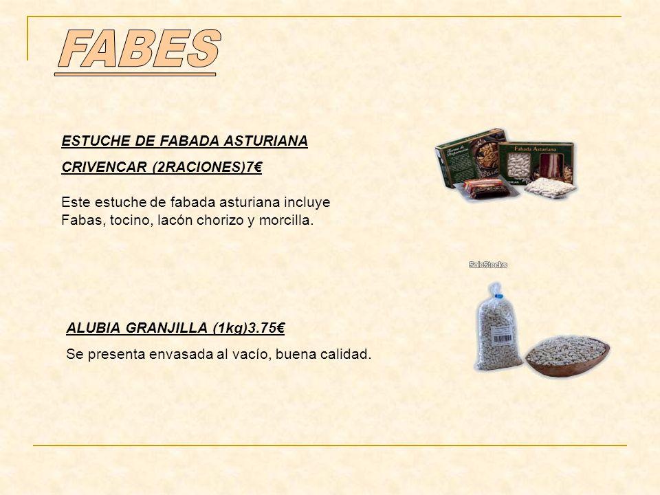 ESTUCHE DE FABADA ASTURIANA CRIVENCAR (2RACIONES)7 Este estuche de fabada asturiana incluye Fabas, tocino, lacón chorizo y morcilla. ALUBIA GRANJILLA