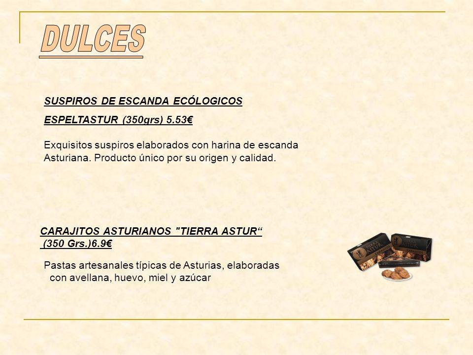 SUSPIROS DE ESCANDA ECÓLOGICOS ESPELTASTUR (350grs) 5.53 Exquisitos suspiros elaborados con harina de escanda Asturiana. Producto único por su origen