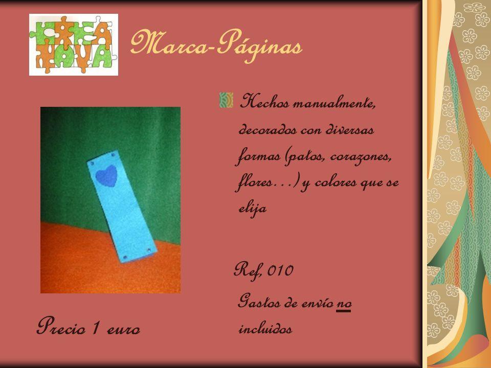 Marca-Páginas Hechos manualmente, decorados con diversas formas (patos, corazones, flores…) y colores que se elija Ref, 010 Gastos de envío no incluid