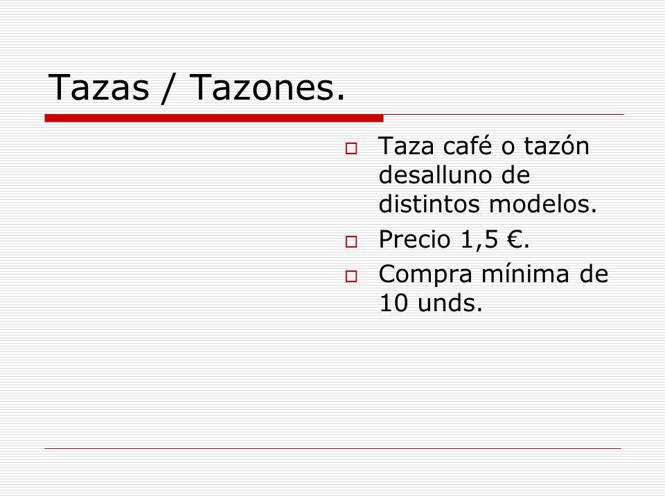 Tazas / Tazones. Taza café o tazón desalluno de distintos modelos. Precio 1,5. Compra mínima de 10 unds.