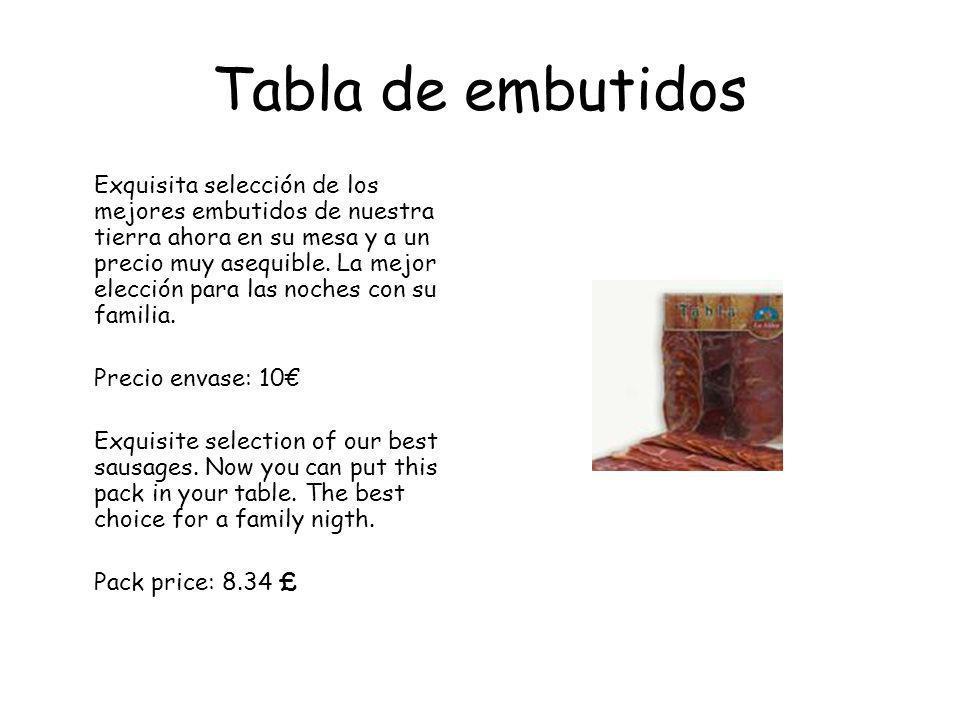 Tabla de embutidos Exquisita selección de los mejores embutidos de nuestra tierra ahora en su mesa y a un precio muy asequible.
