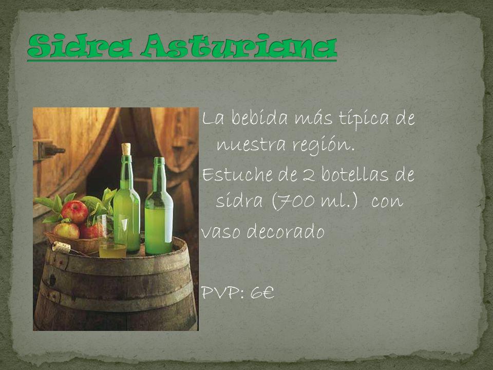 La bebida más típica de nuestra región. Estuche de 2 botellas de sidra (700 ml.) con vaso decorado PVP: 6
