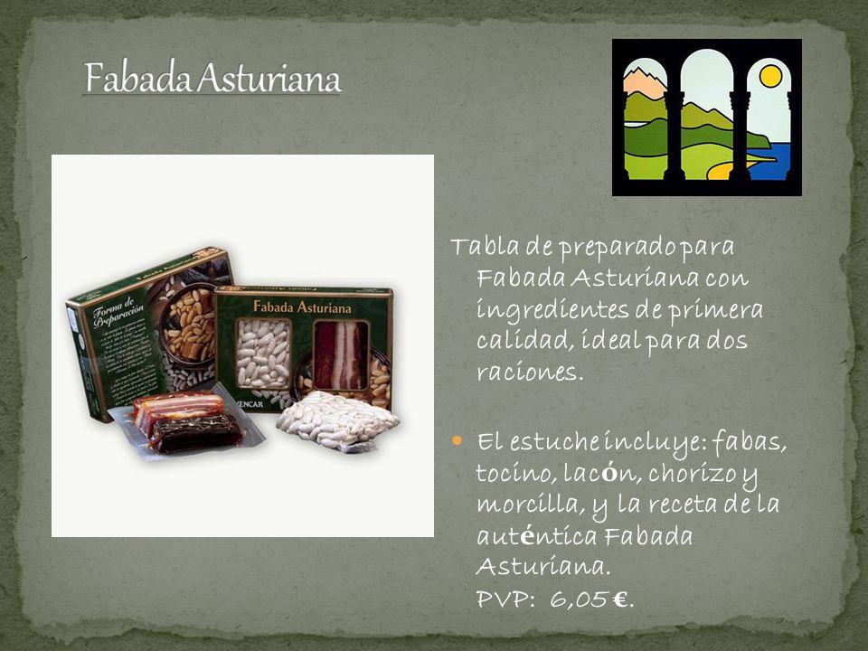 Tabla de preparado para Fabada Asturiana con ingredientes de primera calidad, ideal para dos raciones. El estuche incluye: fabas, tocino, lac ó n, cho