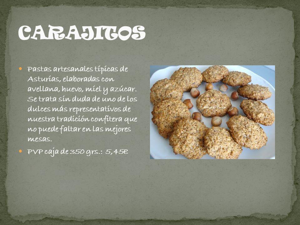 Pastas artesanales típicas de Asturias, elaboradas con avellana, huevo, miel y azúcar. Se trata sin duda de uno de los dulces más representativos de n