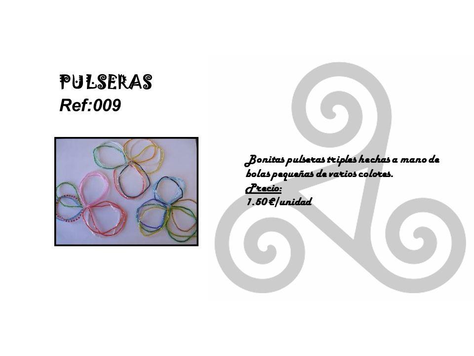PULSERAS Ref:009 Bonitas pulseras triples hechas a mano de bolas pequeñas de varios colores.