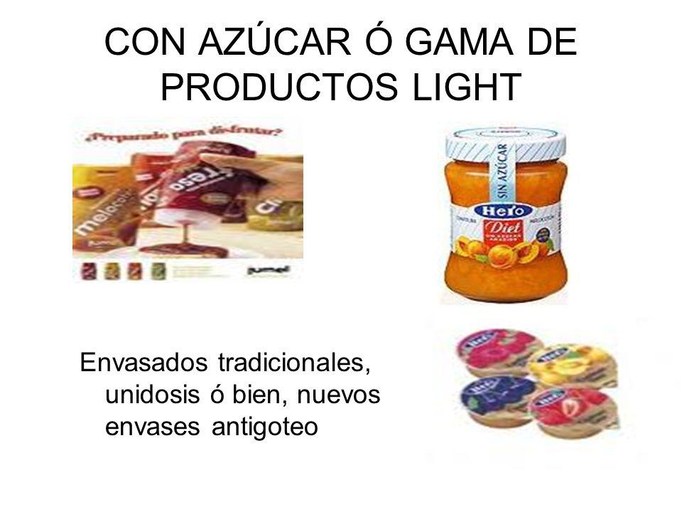 CON AZÚCAR Ó GAMA DE PRODUCTOS LIGHT Envasados tradicionales, unidosis ó bien, nuevos envases antigoteo