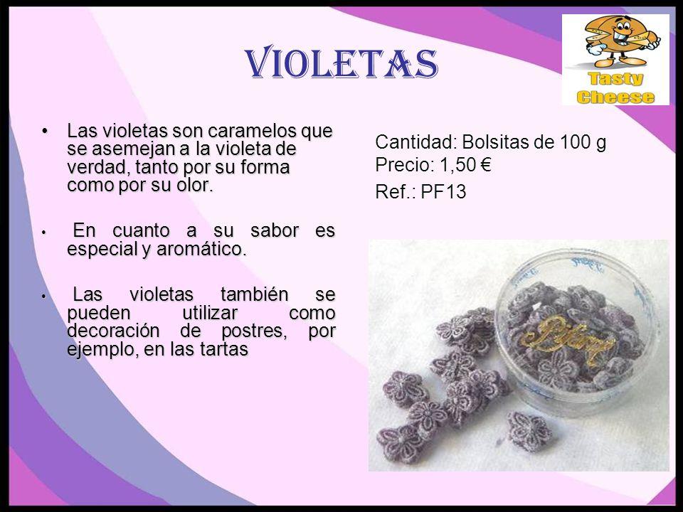 Violetas Las violetas son caramelos que se asemejan a la violeta de verdad, tanto por su forma como por su olor.Las violetas son caramelos que se asemejan a la violeta de verdad, tanto por su forma como por su olor.