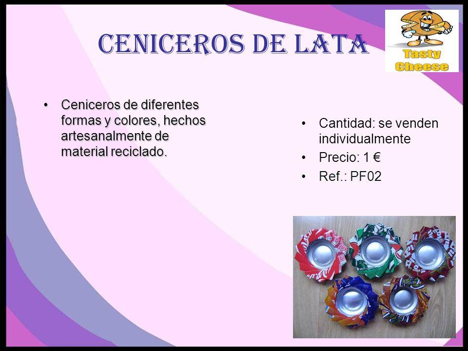 CENICEROS DE LATA Ceniceros de diferentes formas y colores, hechos artesanalmente de material reciclado.Ceniceros de diferentes formas y colores, hechos artesanalmente de material reciclado.